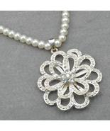 "Gallant Flower on Pearls Necklace 32"" Great for Weddings The Bride - $17.99"