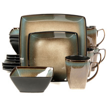 Gibson Elite Tequesta 16-Piece Square Dinnerware Set, Taupe - $114.13
