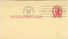 2 Cent Lincoln Post Card First Day Cancellation July 31 1952 - $2.00