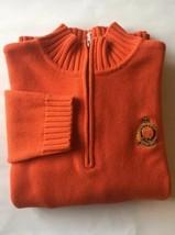 Ralph Lauren Men Half Zip Sweater Orange Small Cotton Mock Tustleneck - $21.93