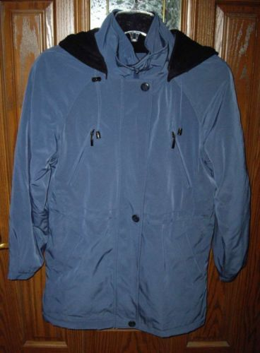 Primary image for LIZ CLAIBORNE Womens Hooded Spring Coat-Teal Blue S/P Small Lined BRAND NEW