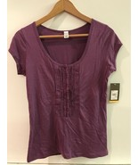 Merona Womens Plum Purple 1/2 Button Cap Sleeve Cotton/ Modal Henley Size S - $12.95