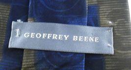 Geoffrey Beene Necktie Tie Silk Lot of 2 Black Blue Brown Geometric Swirls image 3