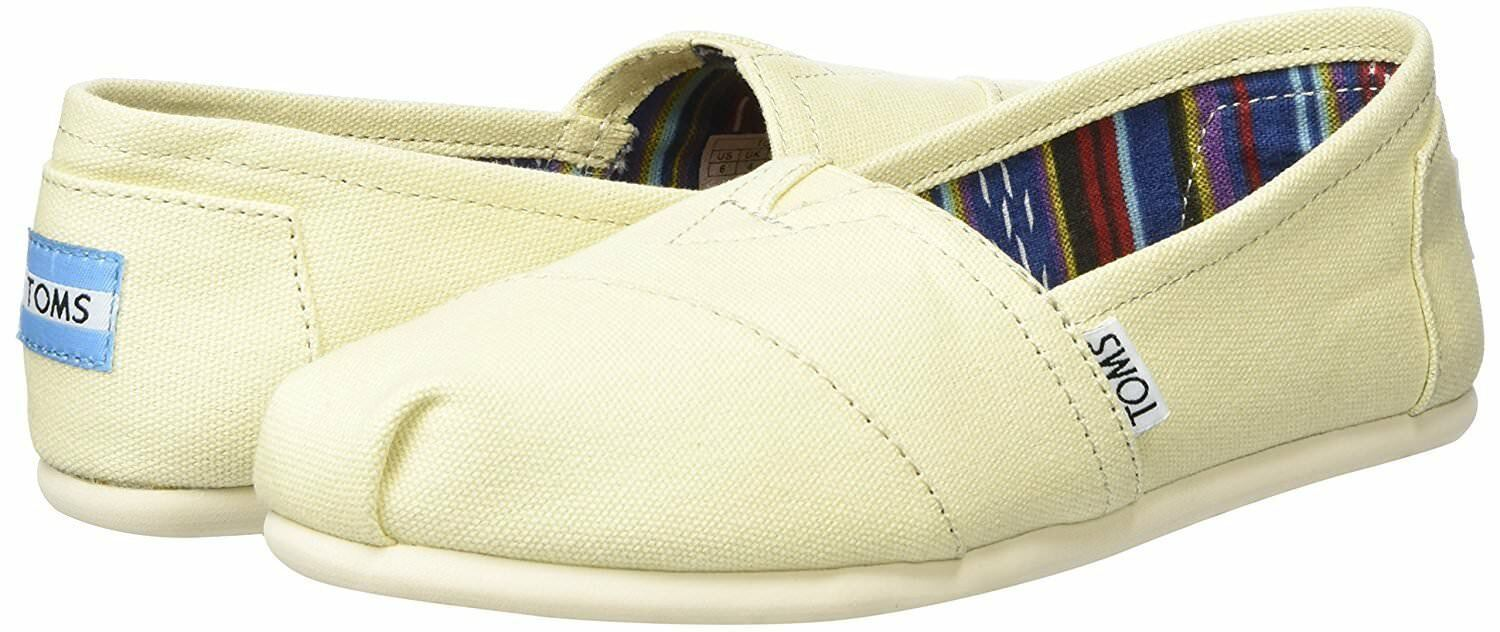 NEW TOMS Women's Classic Solid Natural Lt Beige Canvas Slip On Flats Shoes Box