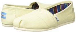 NEW TOMS Women's Classic Solid Natural Lt Beige Canvas Slip On Flats Shoes Box image 1