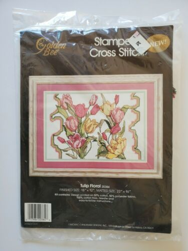Golden Bee Stamped Cross Stitch Kit Tulip Floral 20384 Needle Crafts Pink Yellow - $18.80