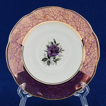Rosina / Queens China Saucer Purple Rose Purple & Gold Rim - $5.00