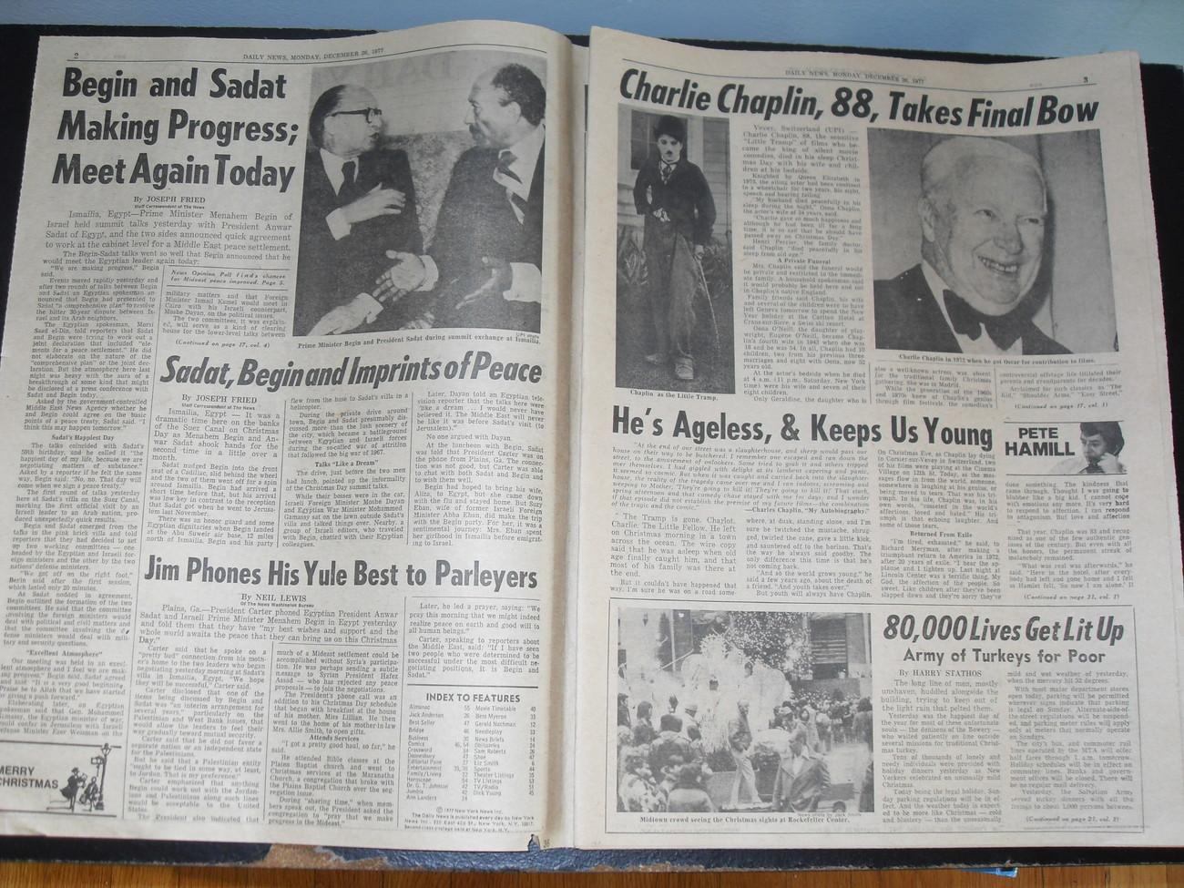 Daily News December 26 1977 Charlie Chaplin Dies 88 & More