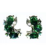 Vintage LISNER Clip-On Earrings with Emerald Green Stones - Signed - $40.00