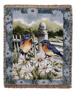 50x60 BLUEBIRD Bird Floral Tapestry Throw Afgha... - $42.50