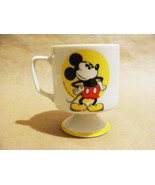 Walt Disney Productions Vintage Mickey Mouse Footed White Yellow Mug Cup... - $22.99