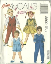 McCall's Sewing Pattern 3890 Childrens Toddler Jumper Shirt Overalls Siz... - $9.99