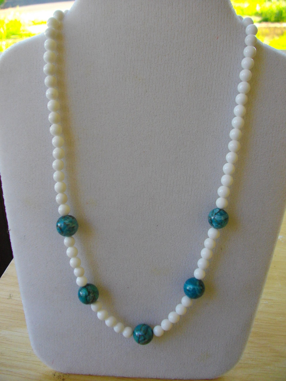M-5  White Mountain Jade and Blue Howlite Turquoise Beads