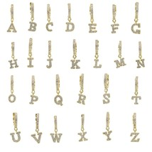 Clear cubic zirconia cz paved Initial cute lovely Alphabet drop charm cu... - $12.90