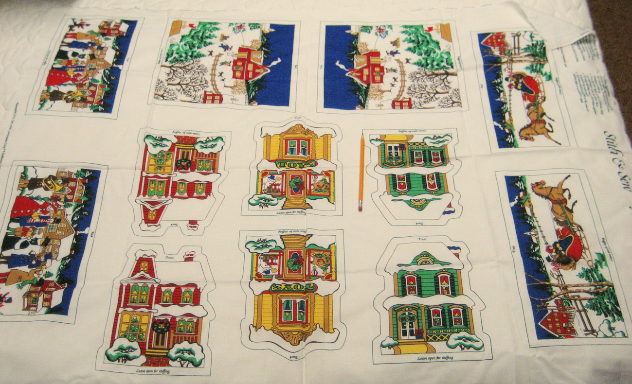 Vintage Christmas Village Fabric Pillow Panels Victorian Houses Horse Sleigh