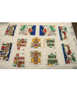 Vintage Christmas Village Fabric Pillow Panels Victorian Houses Horse Sl... - $9.95