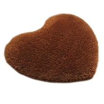 Solid Color Thick Fluff Heart Door Ground Foot Mat Carpet   coffee  40*50cm - $10.71+