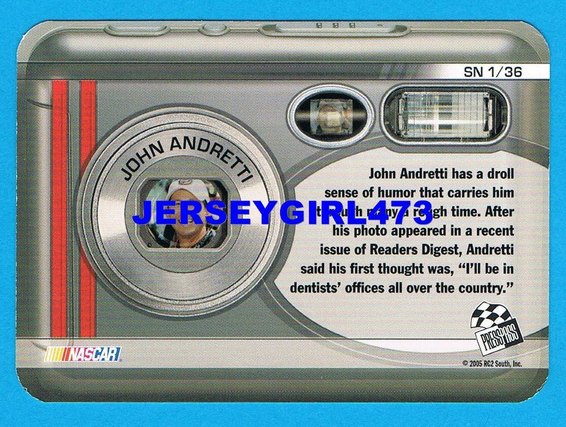 John Andretti 2006 Press Pass Snapshots NASCAR Racing Insert Card #SN 1/36