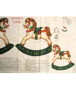 Vintage Fabric Panel Rocking Horses Applique Christmas - $9.95