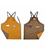 Double Sides Cotton Bib Apron Cow Leather Strap Barista Cafe Bartender C... - $74.40