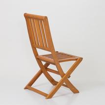 Armless Folding Chair,  Eucalyptus Patio Furniture Dining Collection image 6