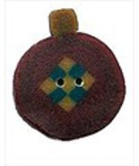 Primitive Red Ornament 4490 handmade clay butto... - $1.60