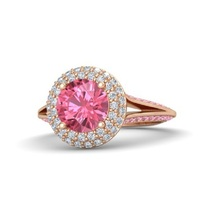 Ariel Princess Engagement Ring Pink & White CZ 14K Rose Gold Plated 925 Silver - £60.80 GBP