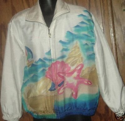 NWT $70 MURELI hand painted zip up silk JACKET size PP