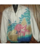 NWT $70 MURELI hand painted zip up silk JACKET ... - $24.99