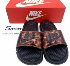 NEW SIZES 6-10 WOMEN Nike Benassi JDI Logo Slides BLACK Sandals Tortoise... - $34.99
