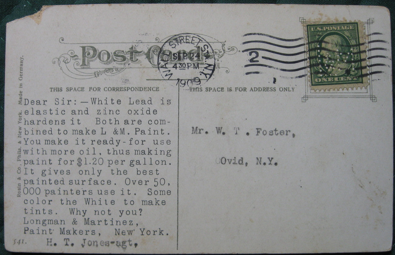 Antique. Rosin & Co, Early Divided back postcard, Brooklyn B