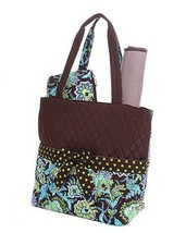 Belvah quilted floral 3 pc baby diaper bag QF1103L(BRTQ) lime, turquoise... - $27.00