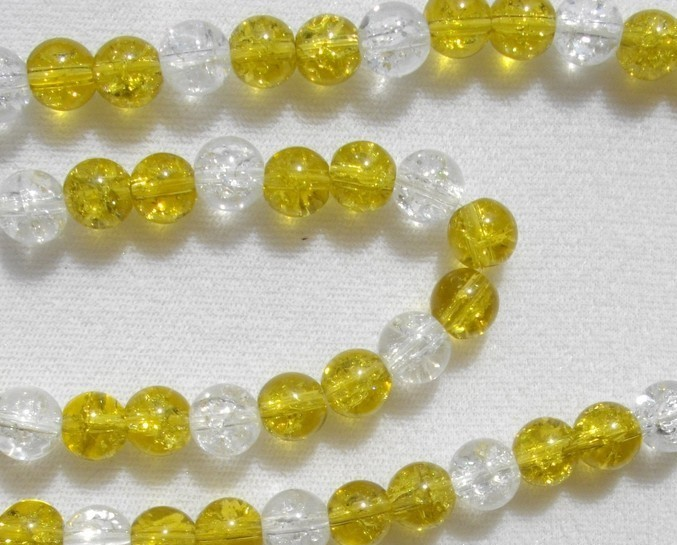 Olive and Clear Crackled Glass Bead Necklace and Bracelet