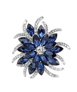 Vintage Inspired Blue Crystal & Rhinestone Flower Brooch, New - $11.83