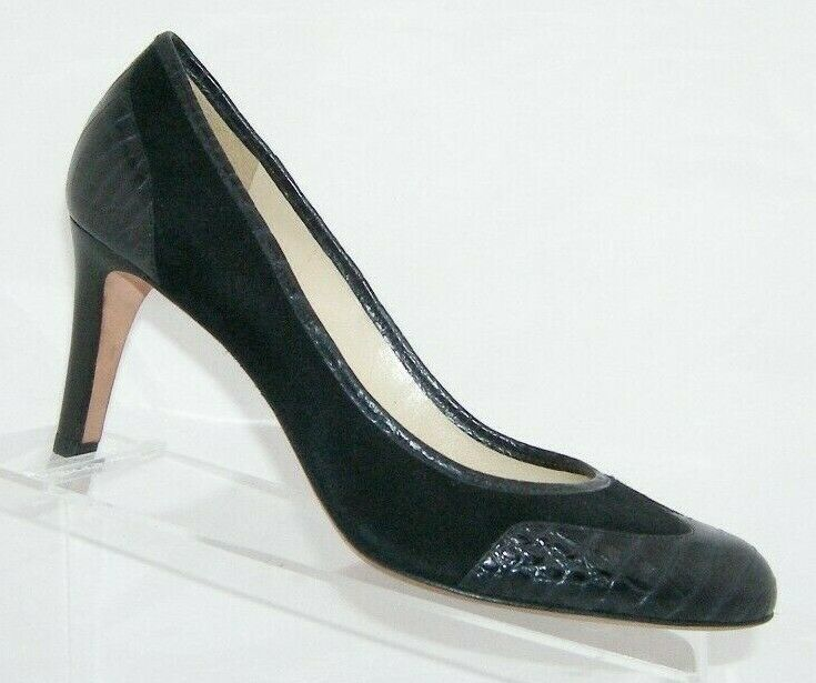 Primary image for Ann Taylor black animal print round toe man made slip on wingtip heels 8M