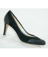 Ann Taylor black animal print round toe man made slip on wingtip heels 8M - $33.30