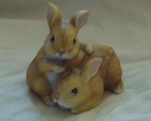 Homco Pair of Bunnies Figurine Home Interiors 1455