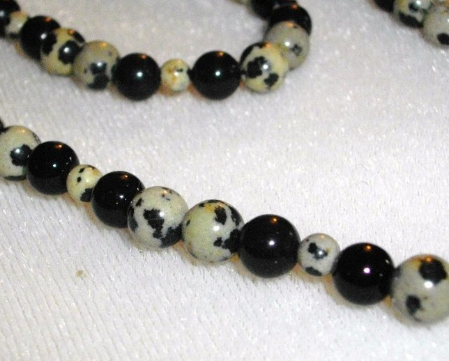 A-34   Dalmation Jasper and Black Jade Necklace and Bracelet
