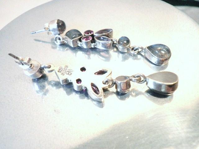 Opal and Gem Stone Chandelier Sterling Earrings
