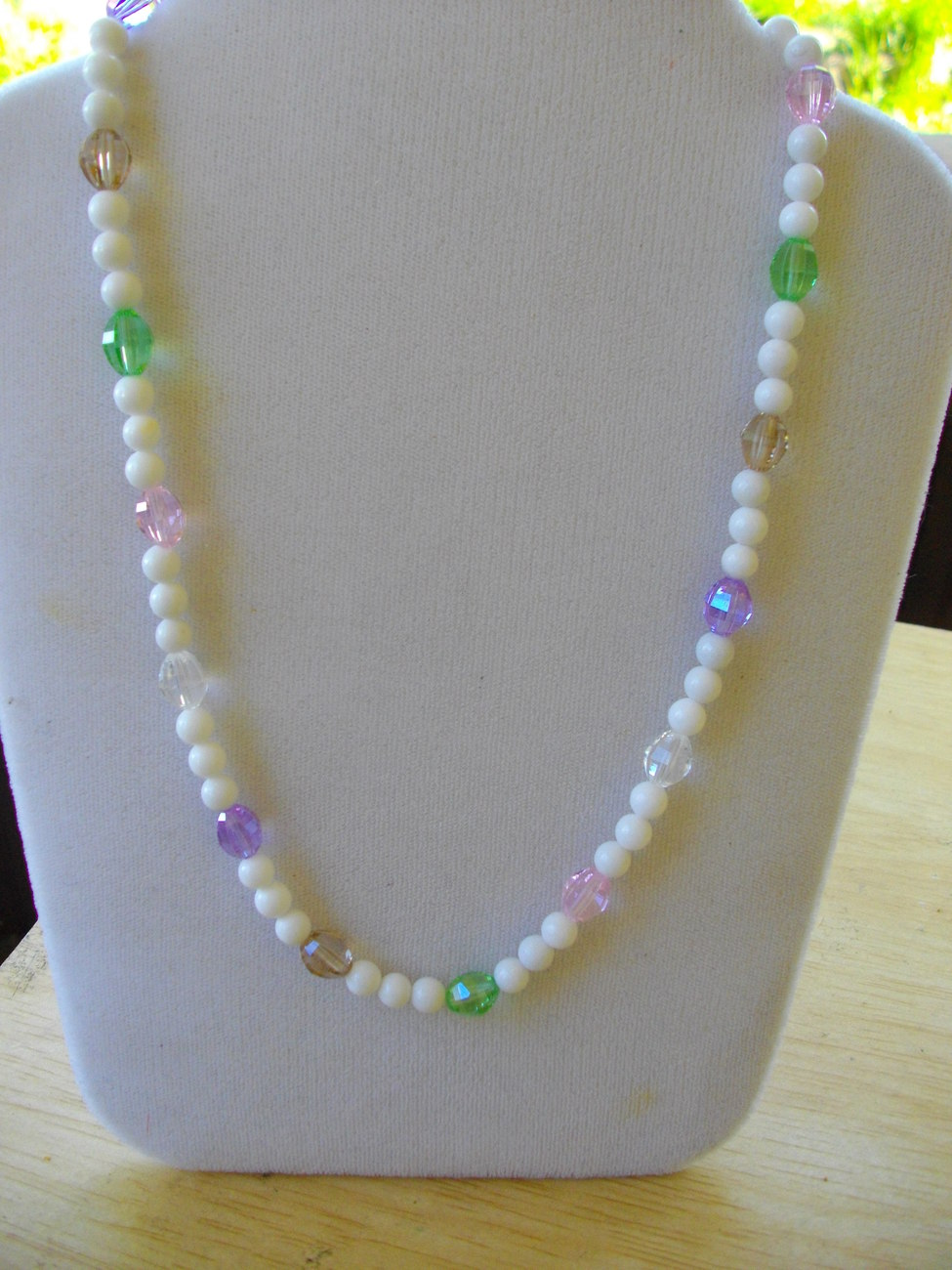 M-1  White Mountain Jade and Crystal Necklace