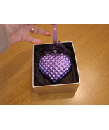 Jeweled Blown Glass Purple Heart Ornament New in Box - $21.50