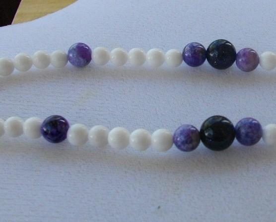 M-3  White Mountain Jade, Plum Jade, and Purple Agate Bead