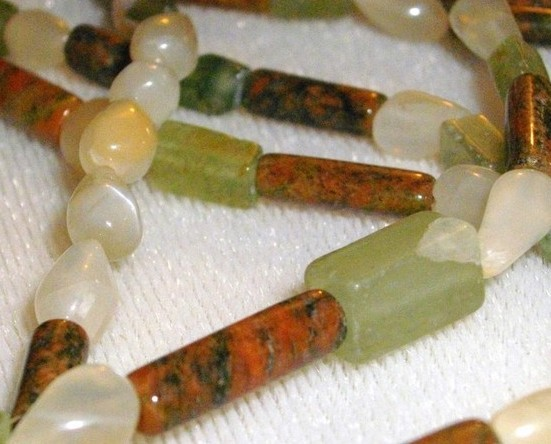 A-78    Unakite, Green Adventurine and Moonstone Necklace