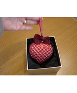 Jeweled Blown Glass Berry Red Heart Ornament New in Box - $21.50