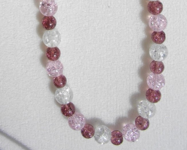 "B-43     ""Purply, Pinky""Pastel Crackled Glass Bead Necklace"