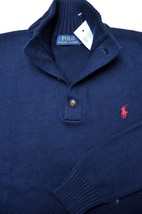 Polo Ralph Lauren Men's 3 Button Mock Neck Navy Blue Cotton Sweater Swea... - $57.91