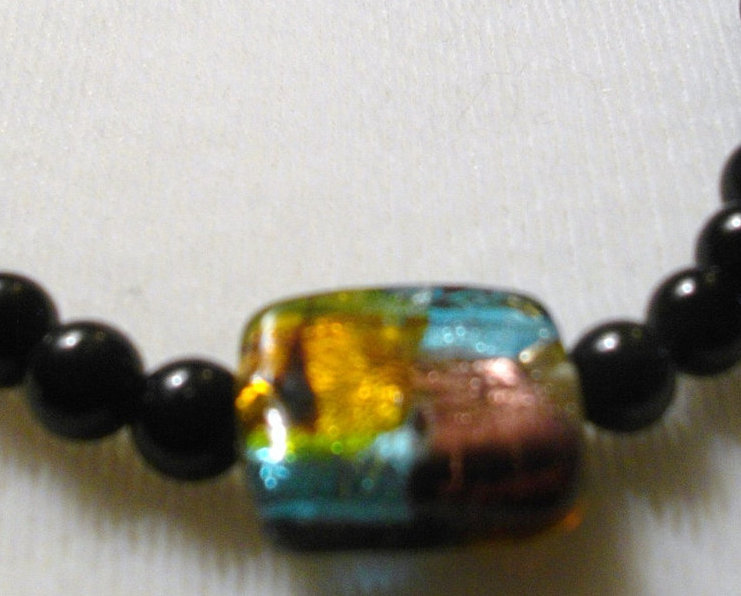 D-7    Black Jasper and Glass Pendant Necklace