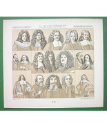 GERMAN PERSONALITIES of 17th & 18th Century - 1888 Sepia Litho Print A. ... - $6.30