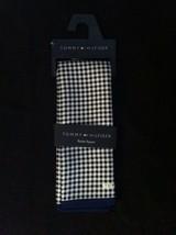 TOMMY HILFIGER MENS NEW BLUE/WHITE 100%SILK POCKET SQUARE - $30.86
