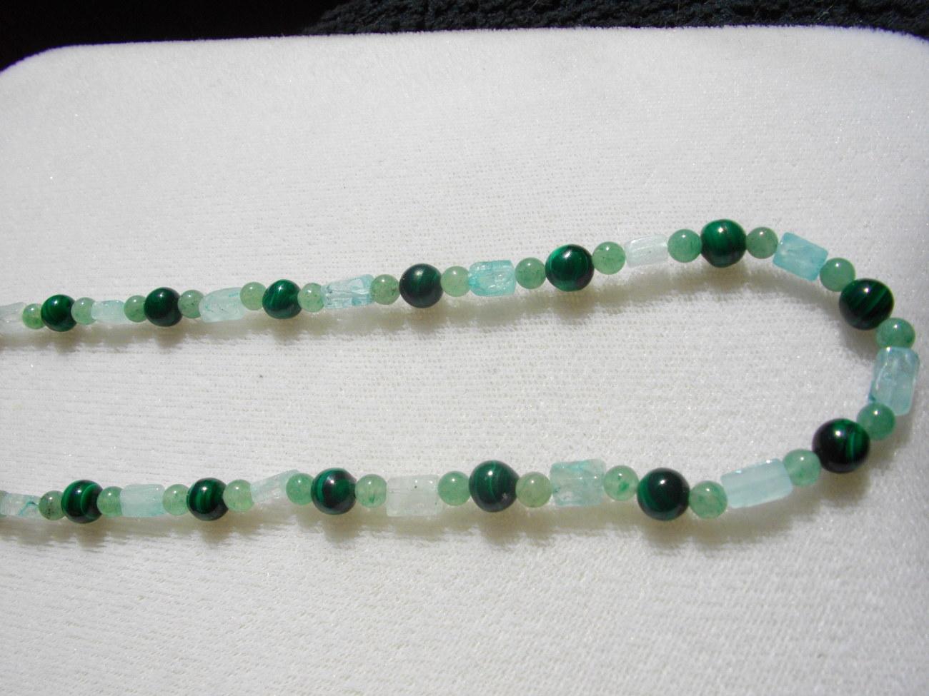 C-23  Green Malachite, Green Adventurine Necklace